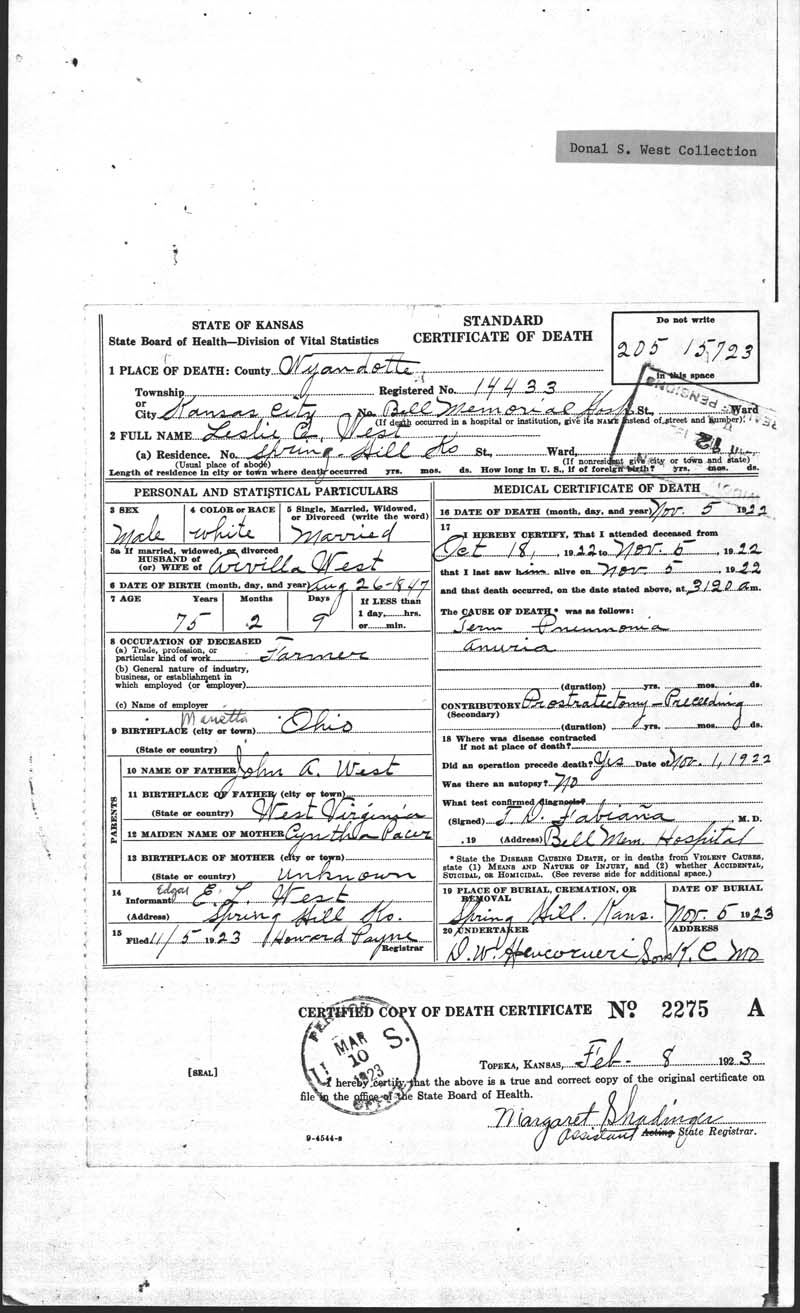 Marriage record: leslie west and a. r. m. middleswart