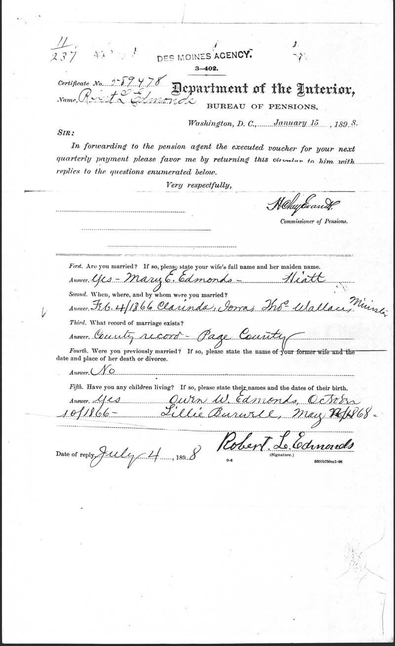 Edmonds, robert, 23rd iowa infantry