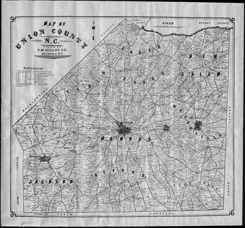 Union County, North Carolina Map 1907